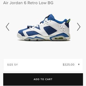 "Nike Air Jordan 6 Retro Low ""Seahawks"" Sz 7Y"
